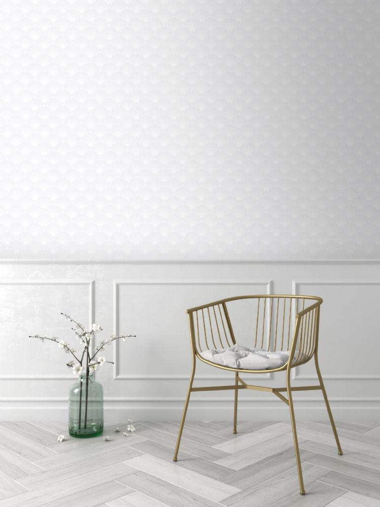 Graham and Brown Ecailles Gatsby White 101365 Wallpaper PB